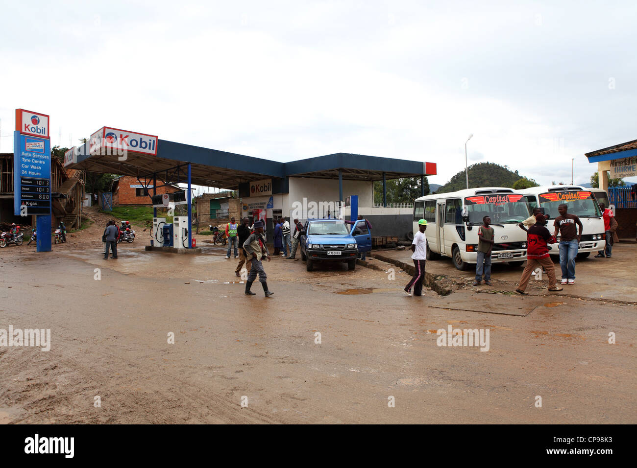 A Kobil filling (gas) station in the town of Gisenyi in Rwanda. - Stock Image