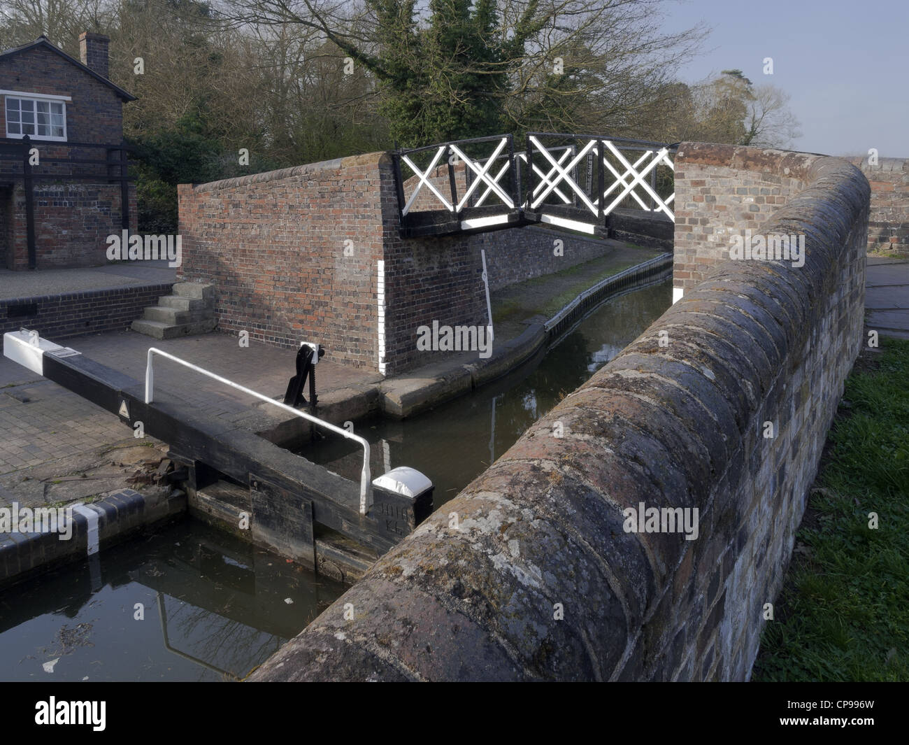 a lock gate on a canal on the inland waterways network of navigable canals and waterways in the english and british Stock Photo