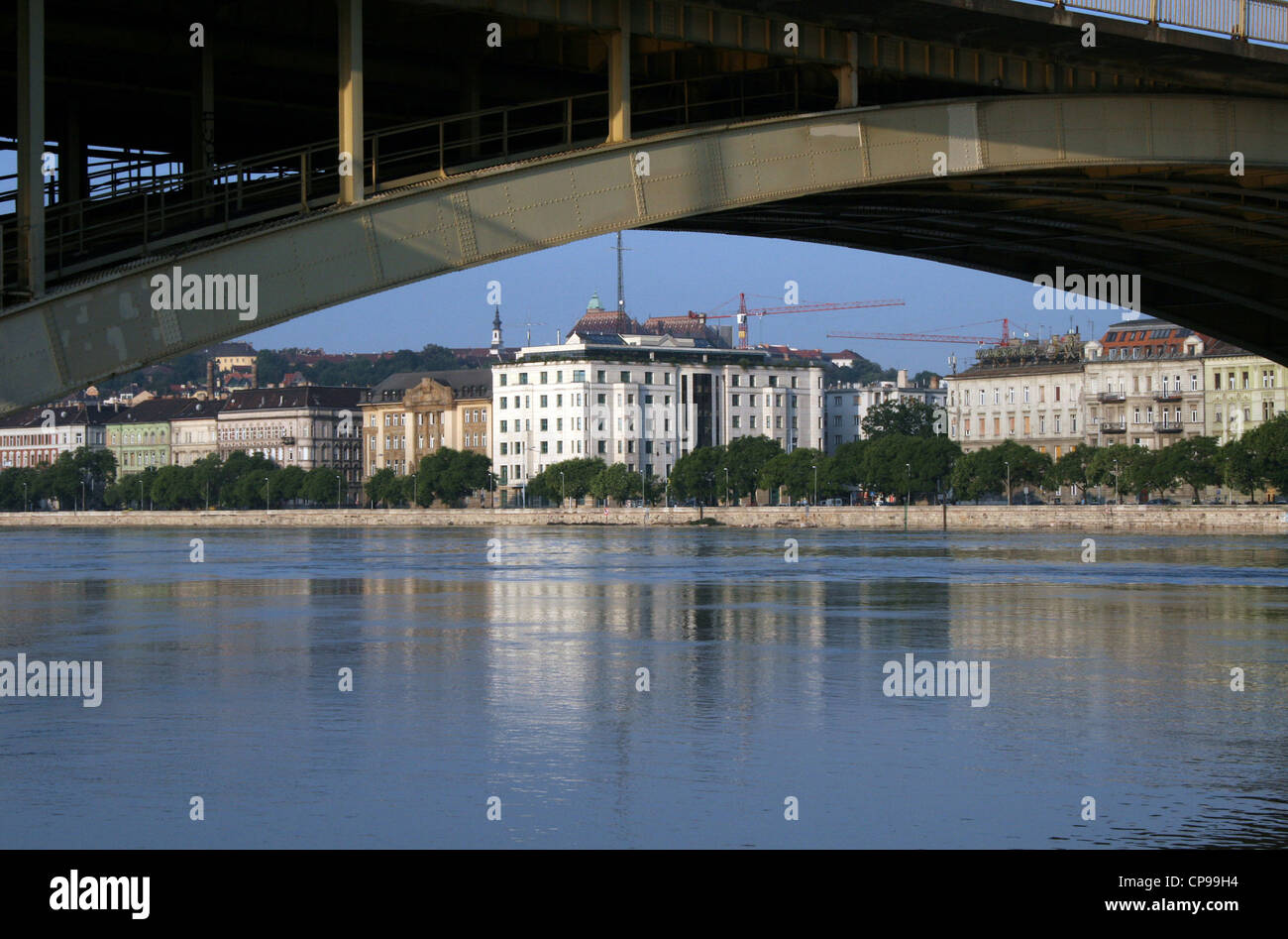Margaret Bridge with the block of the Foreign Ministry - Stock Image