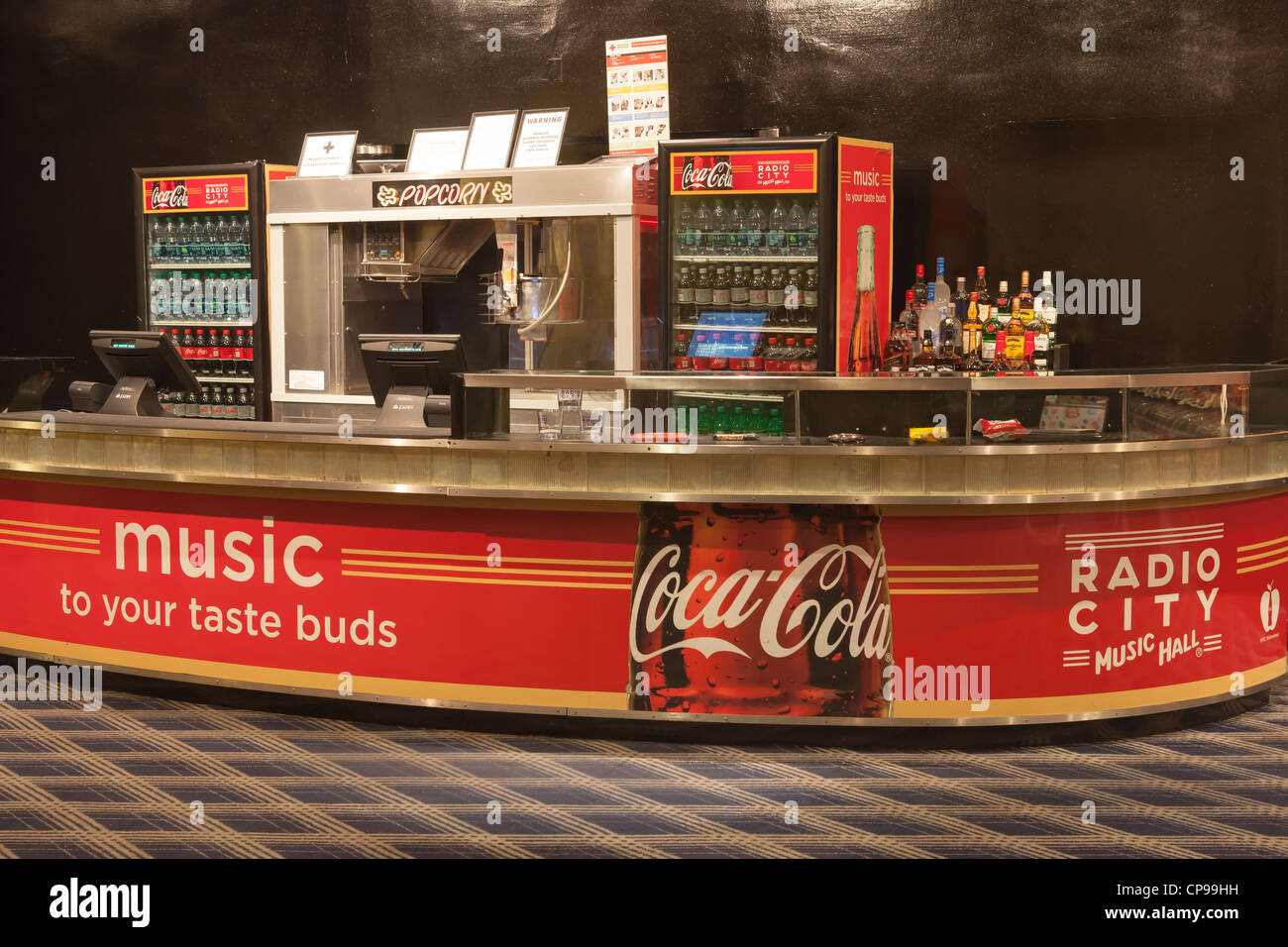 A concession stand in historic Radio City Music Hall in New York City. - Stock Image