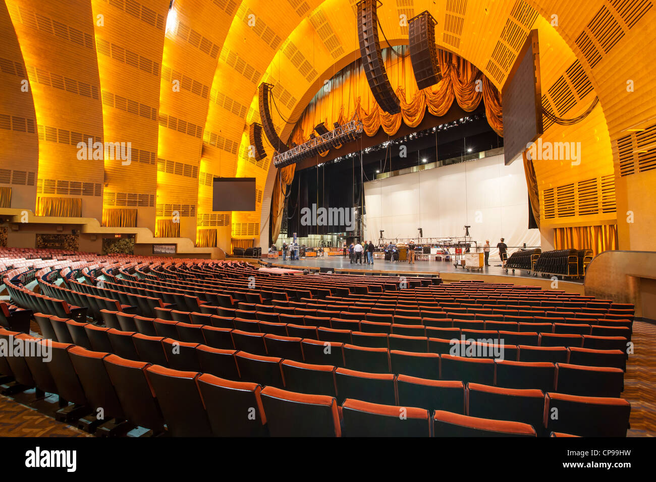 Workers prepare for a show in historic Radio City Music Hall in New York City - Stock Image