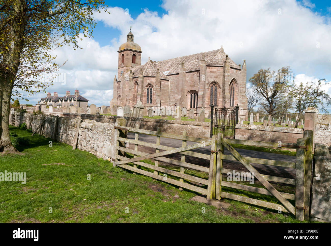 Ladykirk church built on the orders of King James IV of Scotland - Stock Image