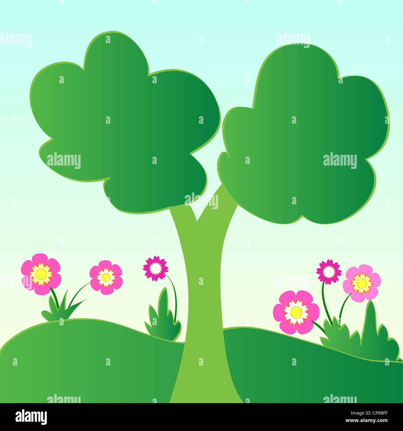 Green tree and flowering plants illustration Stock Photo