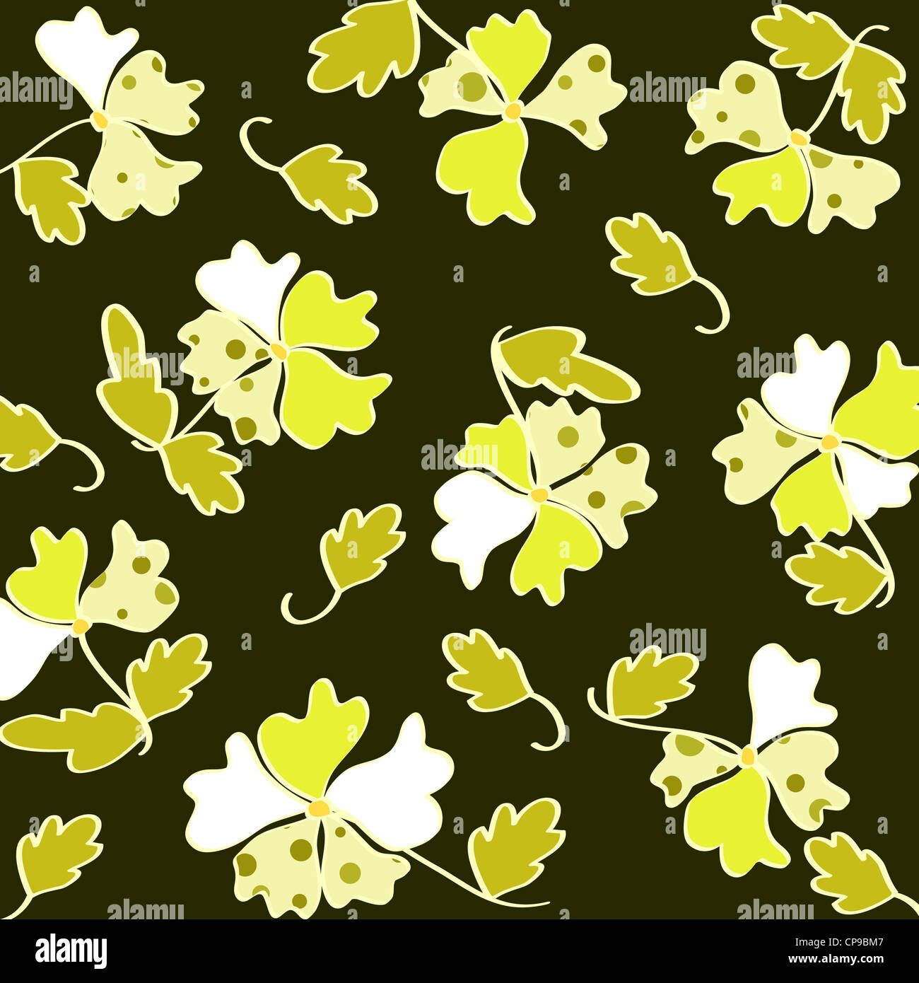 Artistic floral and leaves retro pattern on green Stock Photo