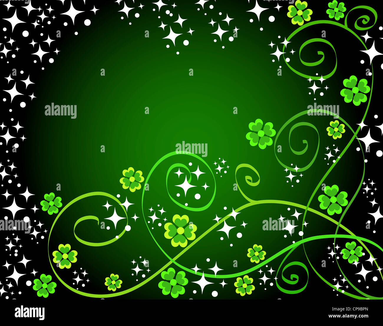 Green clovers and stars frame Stock Photo