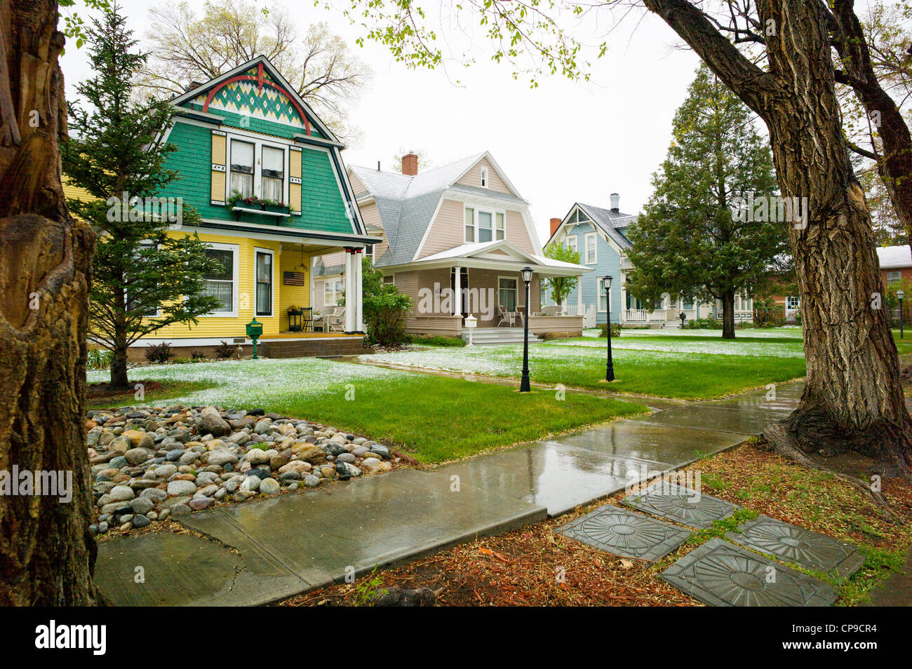Victorian home, early May snowstorm, historic downtown district, small mountain town of Salida, Colorado, USA - Stock Image