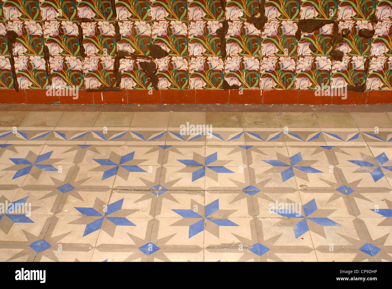 Floor and wall tiles in the Spanish colonial river town of Tlacotalpan, Veracruz, Mexico. - Stock Image