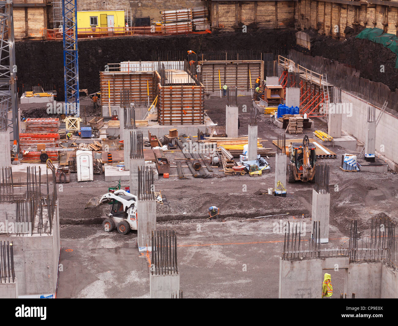 Construction site, building foundation pit. Ottawa, Ontario, Canada. - Stock Image