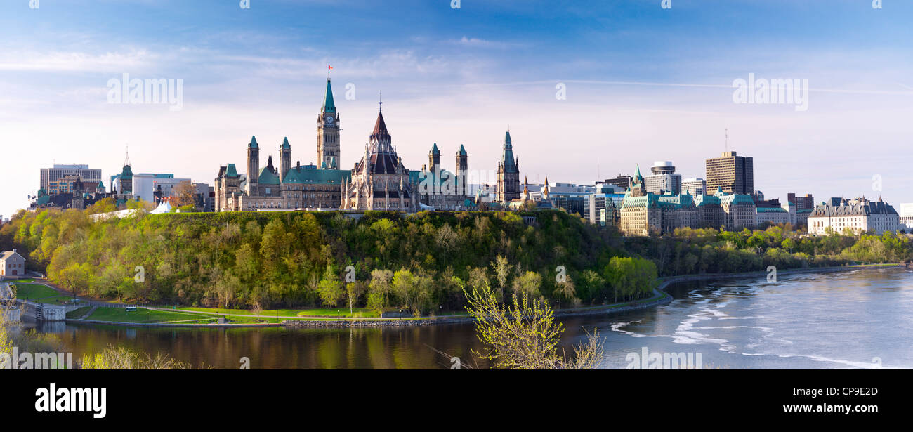 Panoramic view of The Parliament Hill in Ottawa, Ontario, Canada springtime scenic May 2012 - Stock Image
