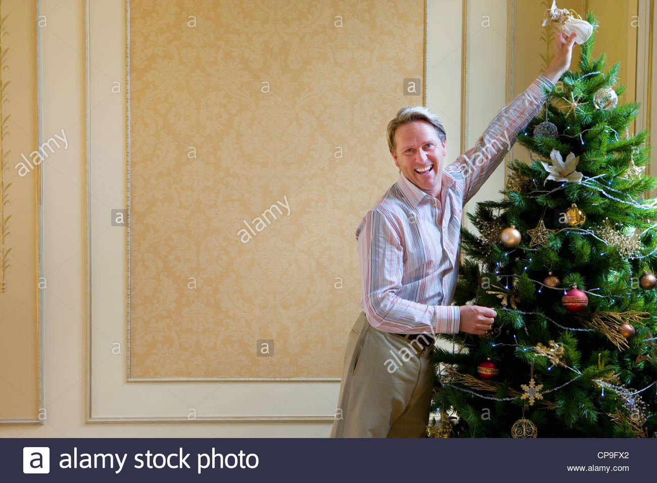 Angel Of Christmas.Mature Man Putting Angel On Top Of Christmas Tree Smiling