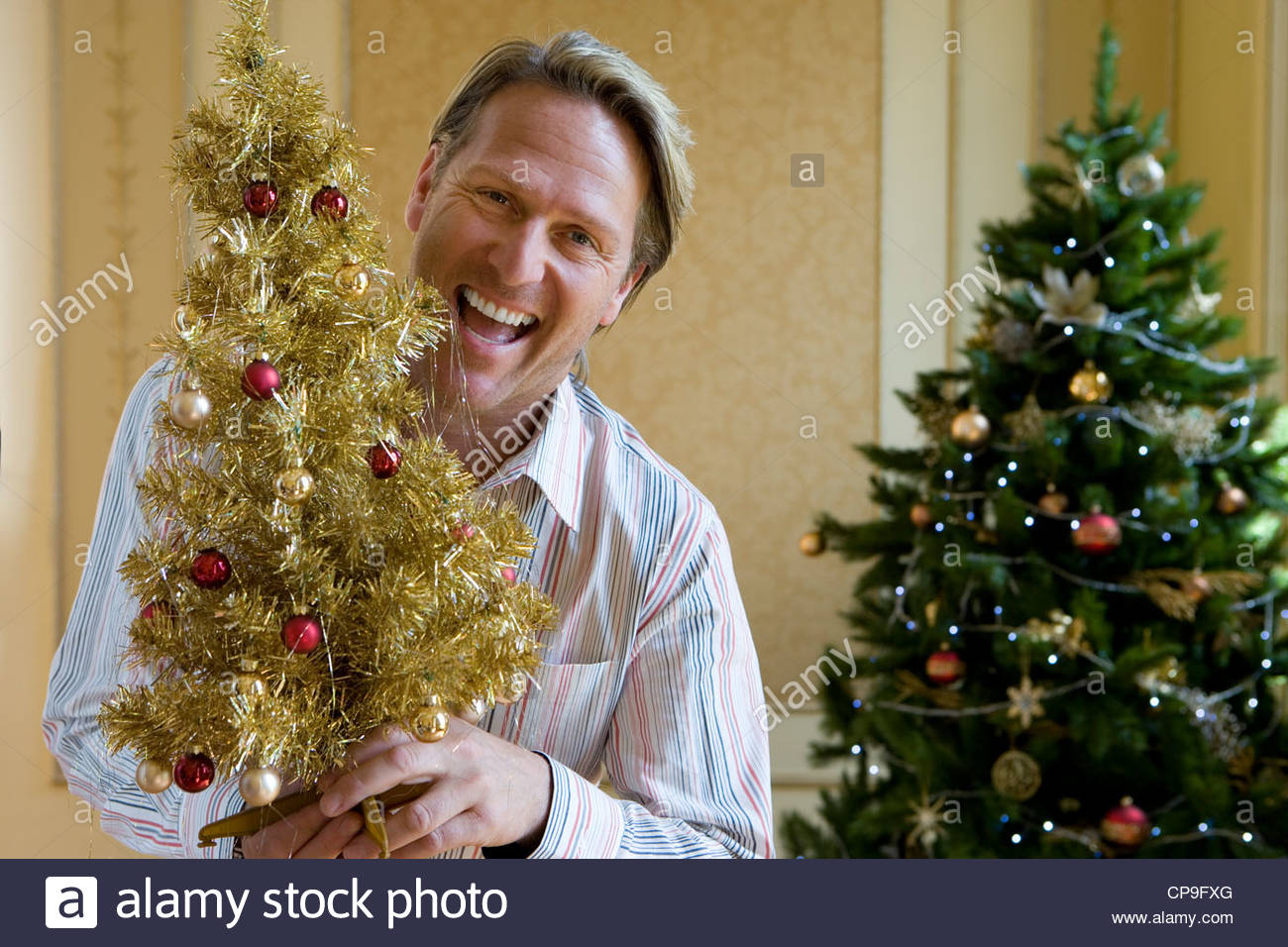 Mature man by Christmas tree with small ornamental tree, smiling, portrait - Stock Image