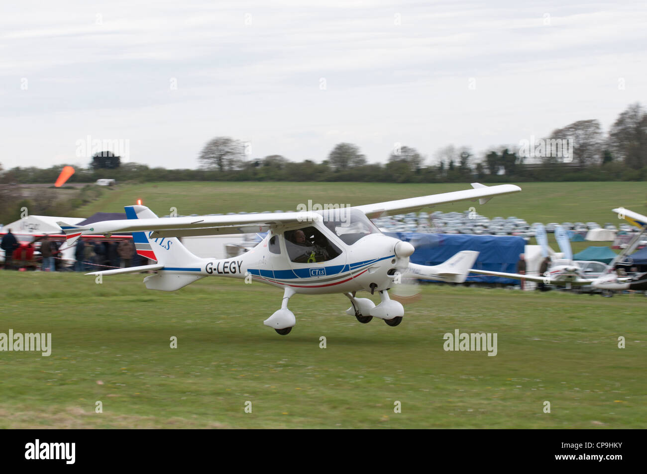 Flight Design GMBH CTLS  high wing light aircraft registration G-LEGY takes off from Popham airfield near Basingstoke - Stock Image