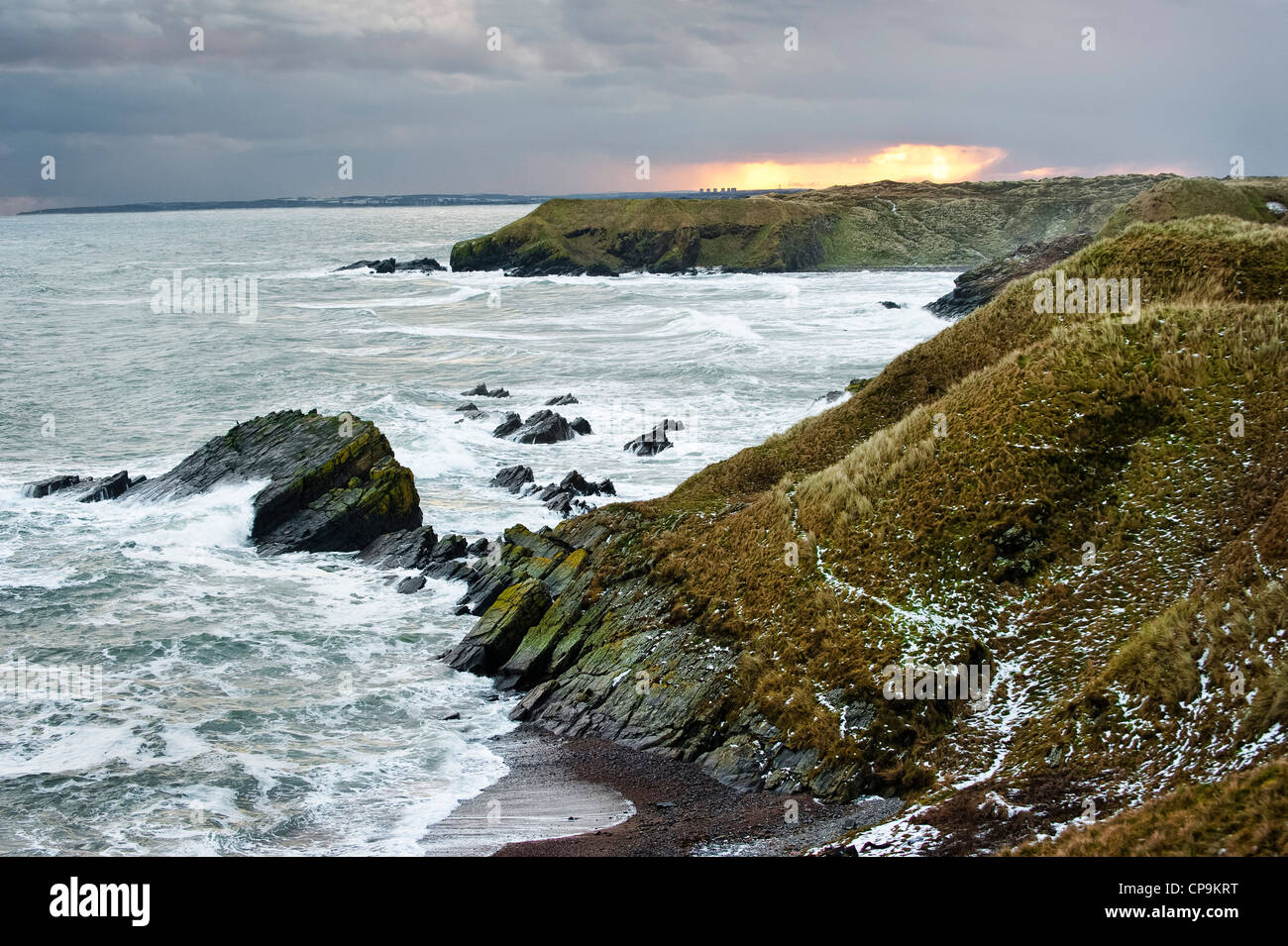 Looking south down the Aberdeenshire coast near Collieston, Forvie National Nature Reserve, Aberdeenshire, Scotland, - Stock Image