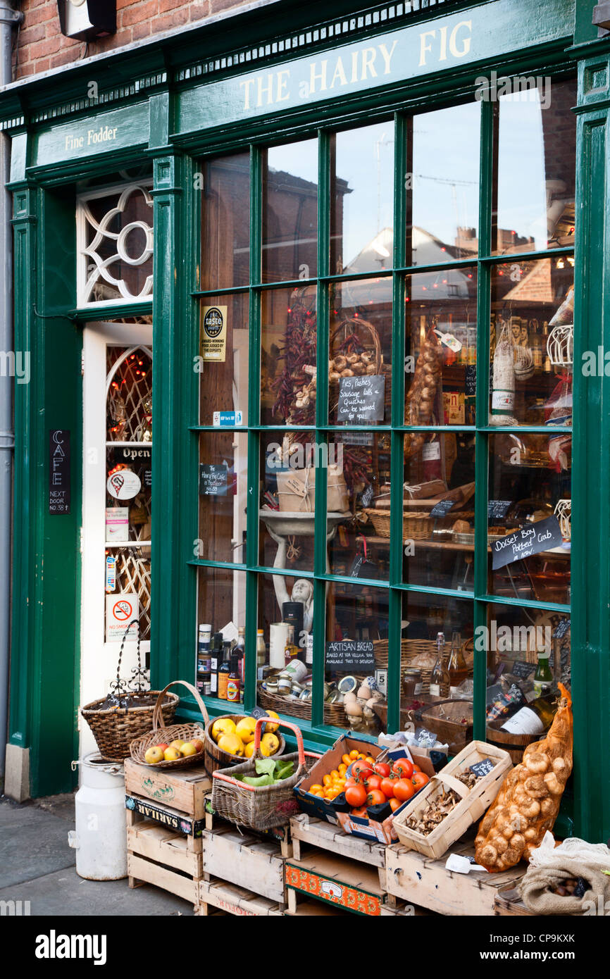 The Hairy Fig Delicatessen on Fossgate York Yorkshire England - Stock Image
