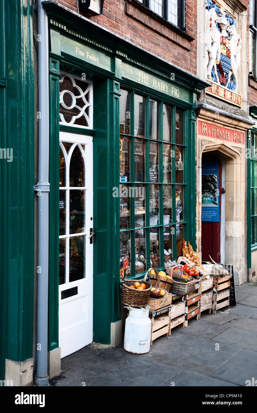 Produce outside the Hairy Fig delicatessen on Fossgate York Yorkshire England - Stock Image
