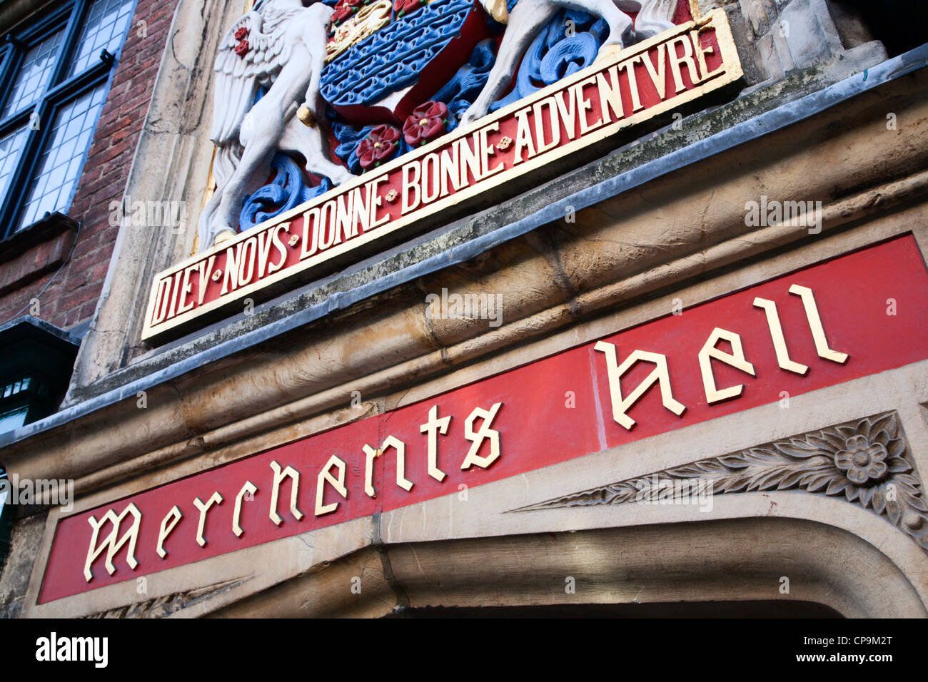 Merchant Adventurers Hall Entrance on Fossgate York Yorkshire England - Stock Image