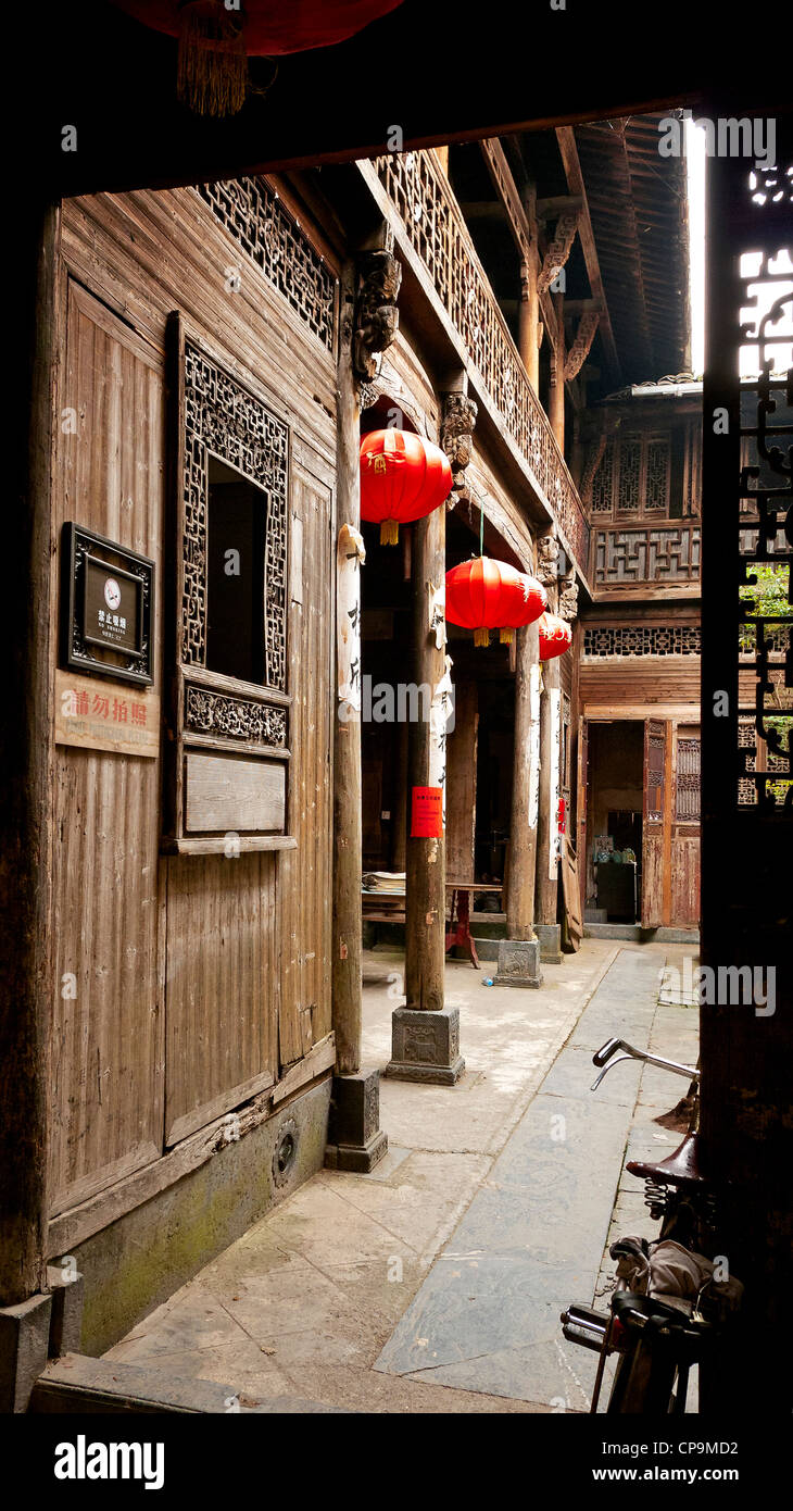 Carved Wood inner decoration of a home in XiDi (Anhui). China Stock ...