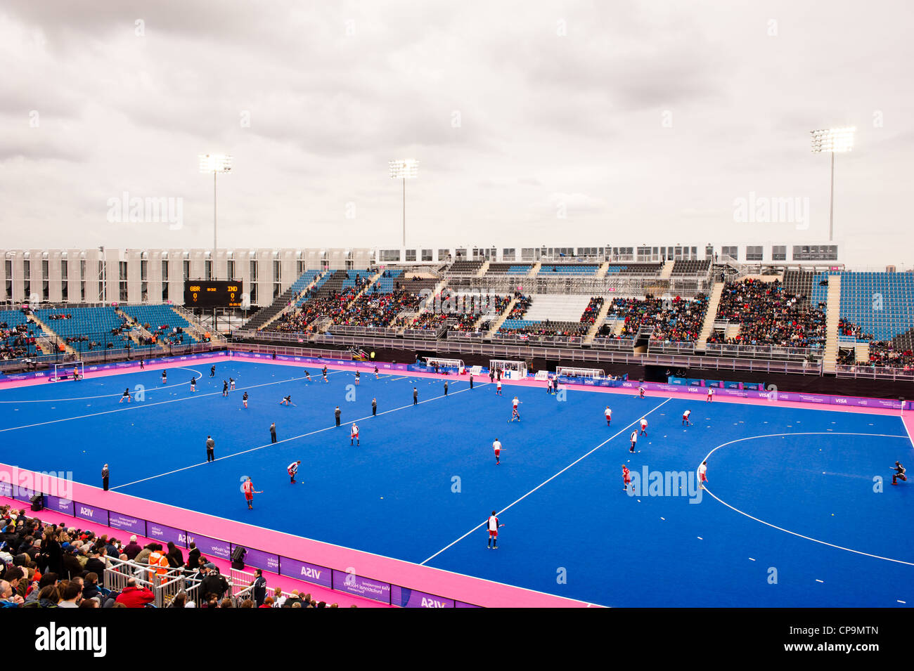 Hockey warming up at the Riverbank arena during the London prepares series at the Olympic park in London on May - Stock Image