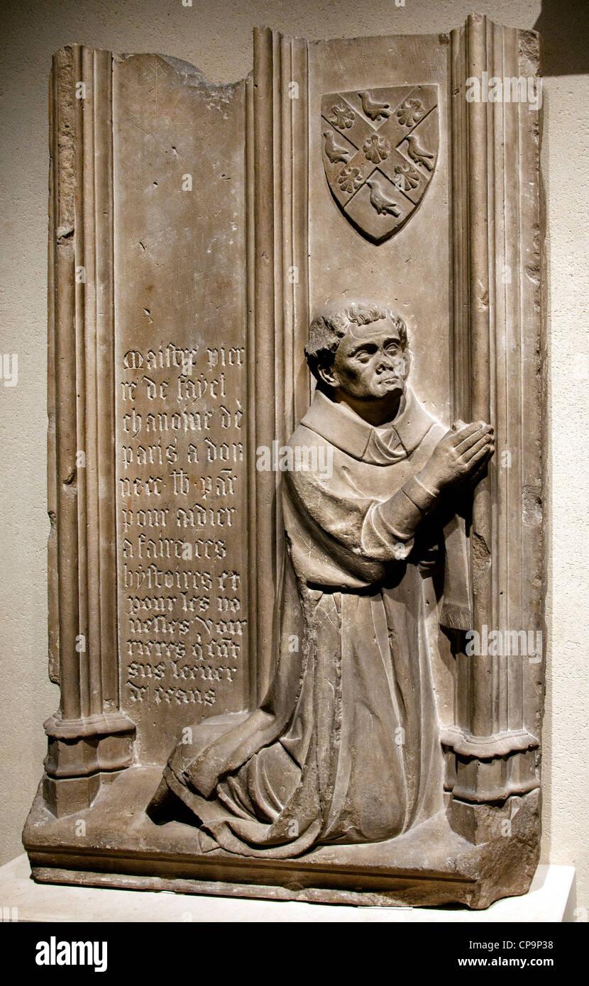 Notre Dame de Paris Stone Fayel canon of Paris1344 Jean Ravy 14 century France French - Stock Image