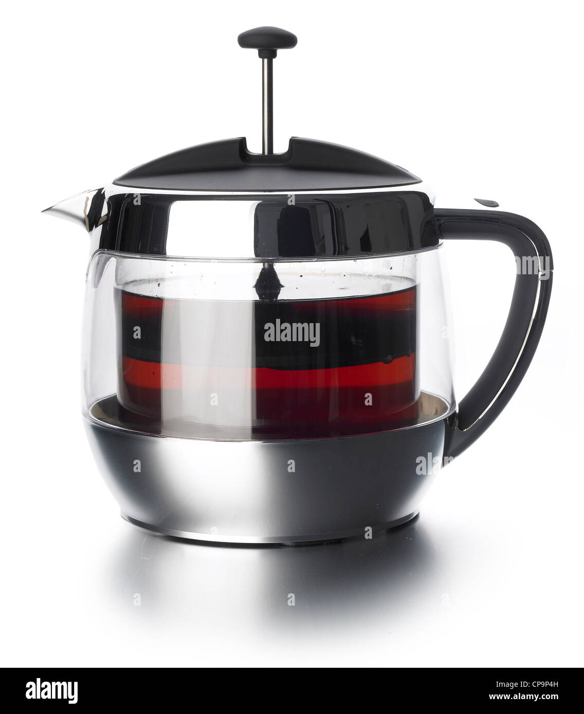 glass chrome vacuum clear tea pot - Stock Image