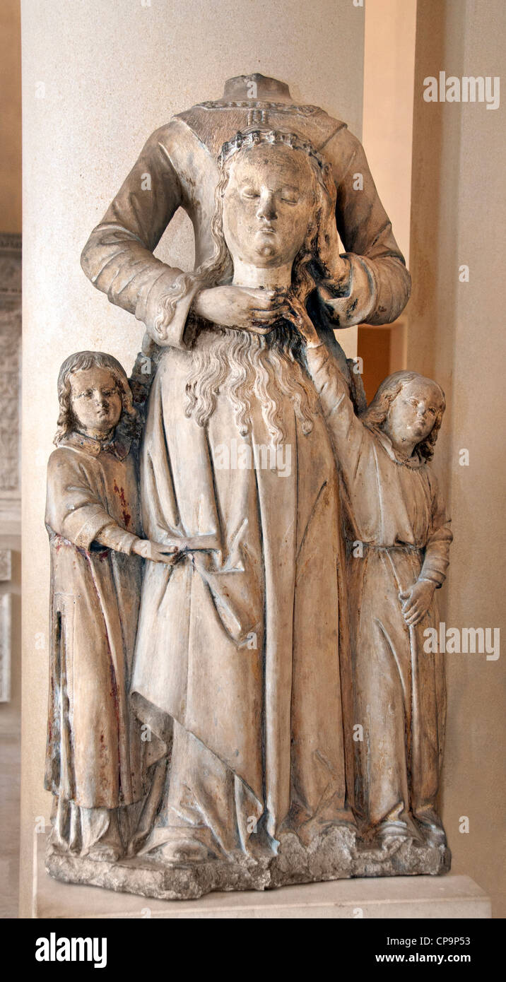 St. Valerie holding her head in his hands accompanied by two angels Nivernais last third of the fifteenth century - Stock Image