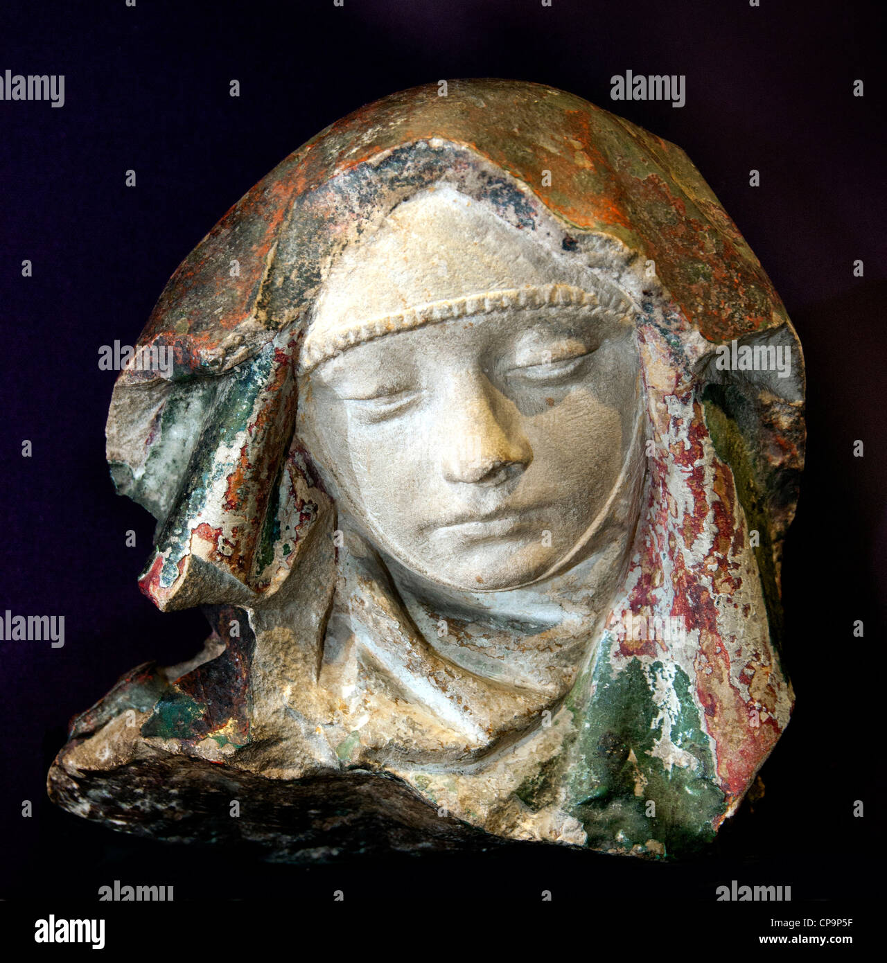 Head of Virgin of Pity Auvergne15 century France French - Stock Image