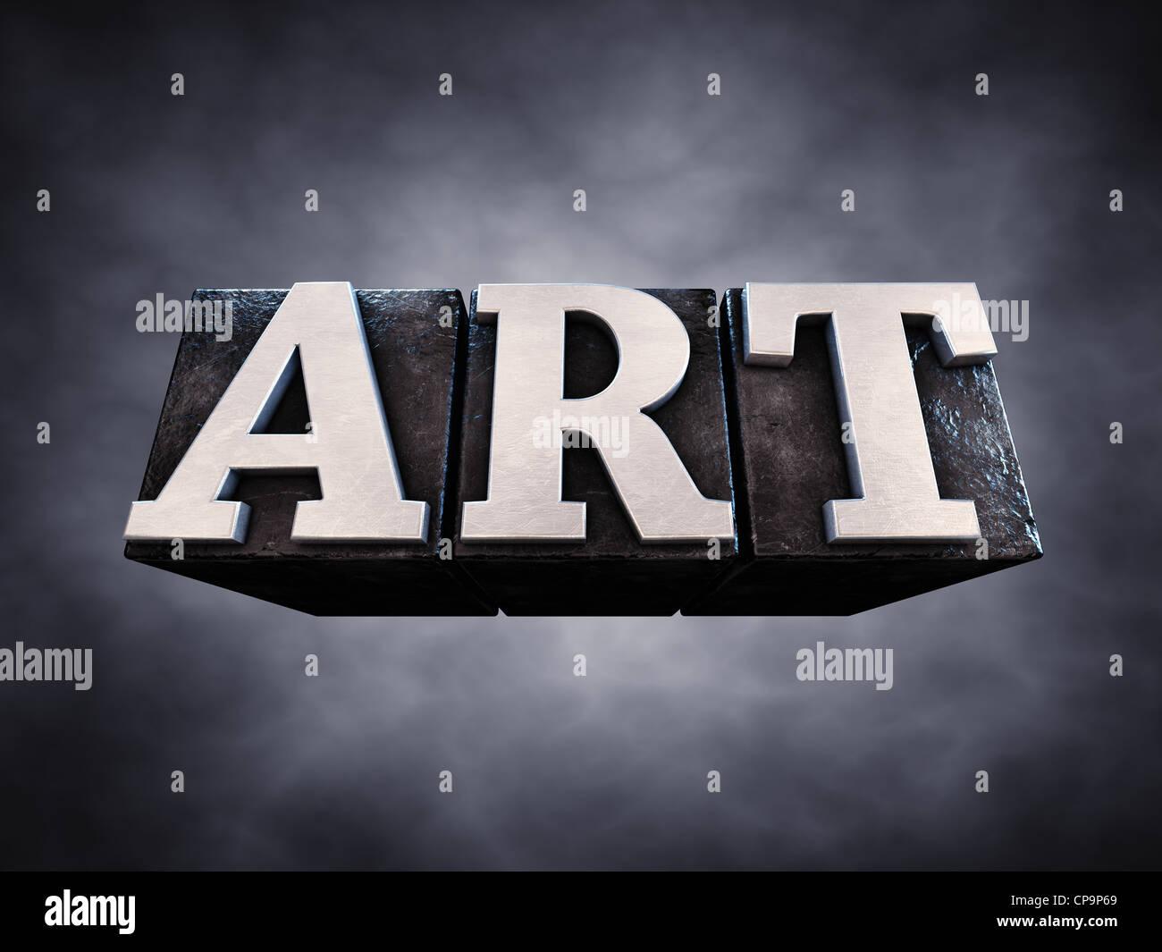Art , letterpress typesetting on dark background , 3d illustration - Stock Image