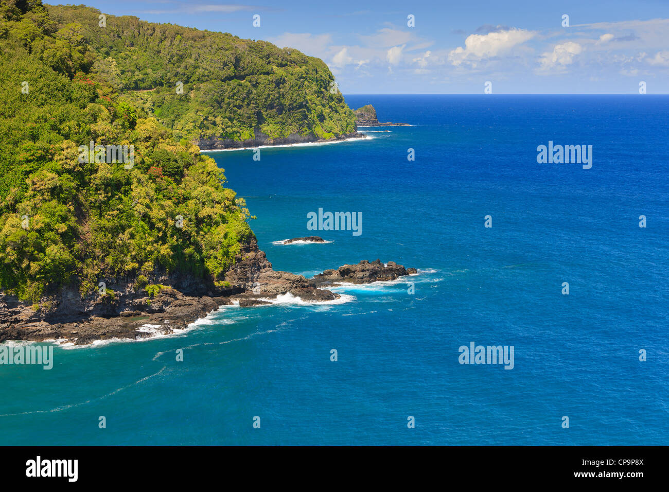 Ocean view from the road to Hana, Maui, Hawaii - Stock Image
