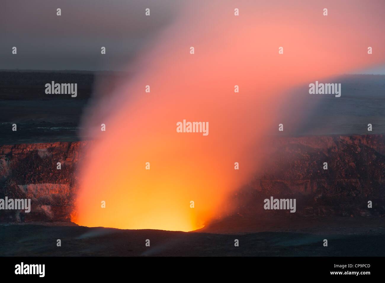 Halemaumau Caldera in Hawaii Volcanoes National Park, The Big Island, Hawaii - Stock Image