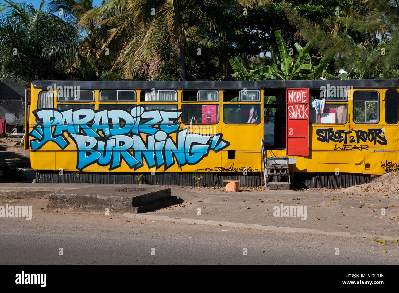 A mobile snack shop at Bel Ombre on the southwest of the island. - Stock Image