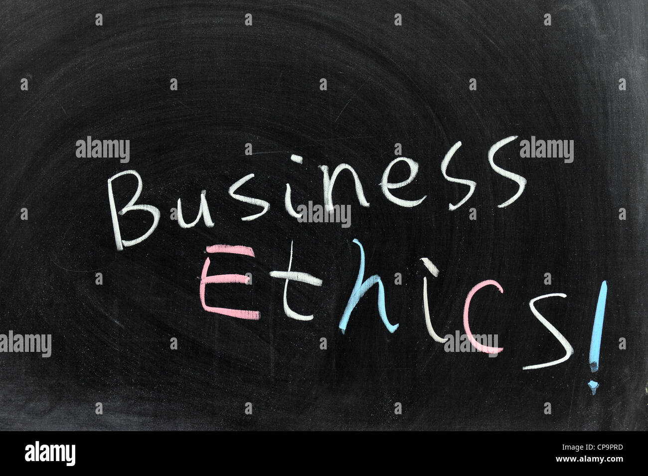 Conceptional chalk drawing - Business ethics - Stock Image