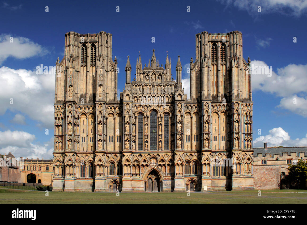 West Front of Wells Cathedral, Somerset, England, UK - Stock Image