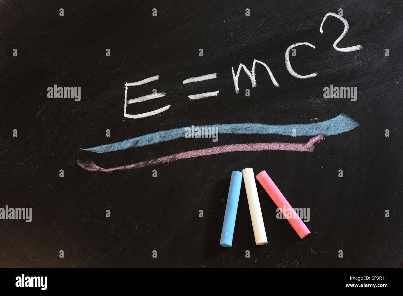 'Theory of relativity' formula written on chalkboard - Stock Image