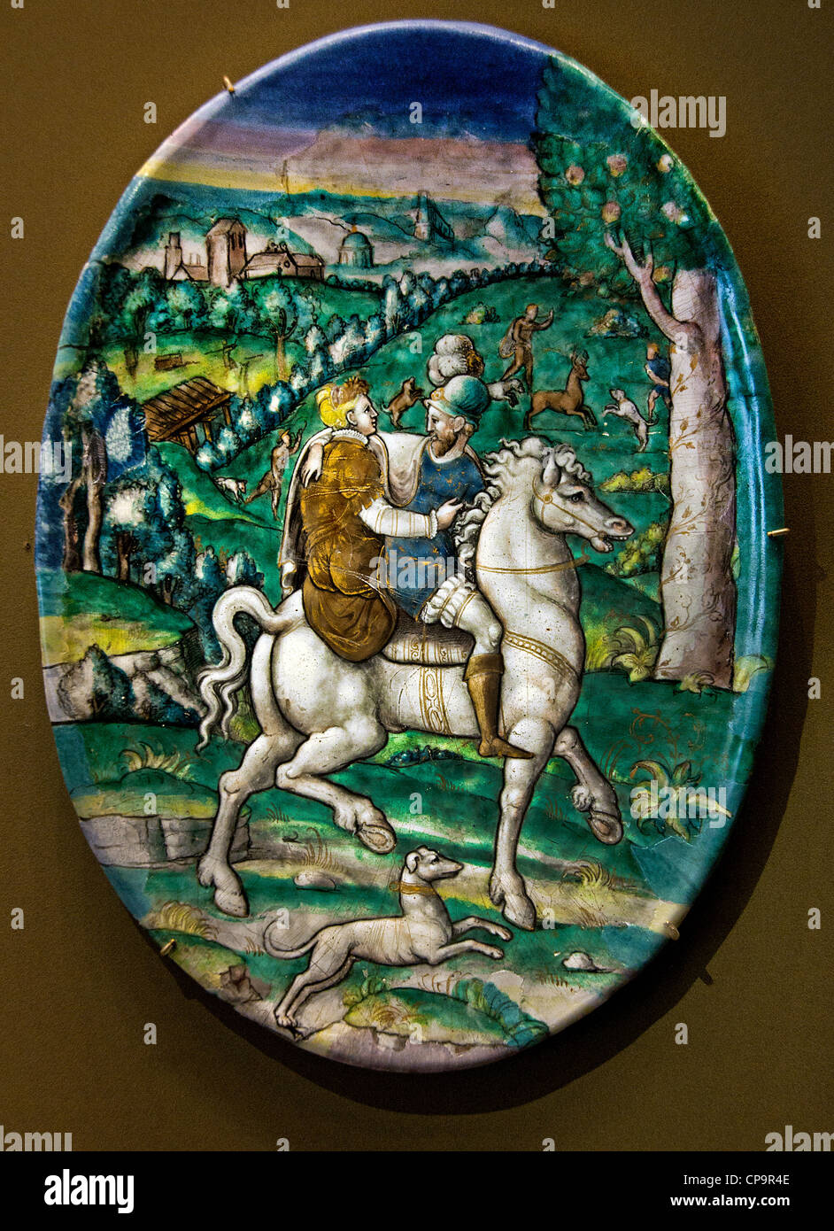 plate May or Spring Limoges Painted enamel on copper Leonard Limousin  Limosin 1505 - 1577 France - Stock Image