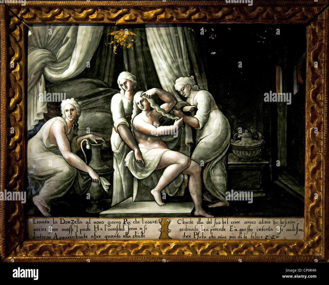 The Toilet of Psyche Leonard Limousin  Limosin 1505 - 1577  Painter enamel - Stock Image