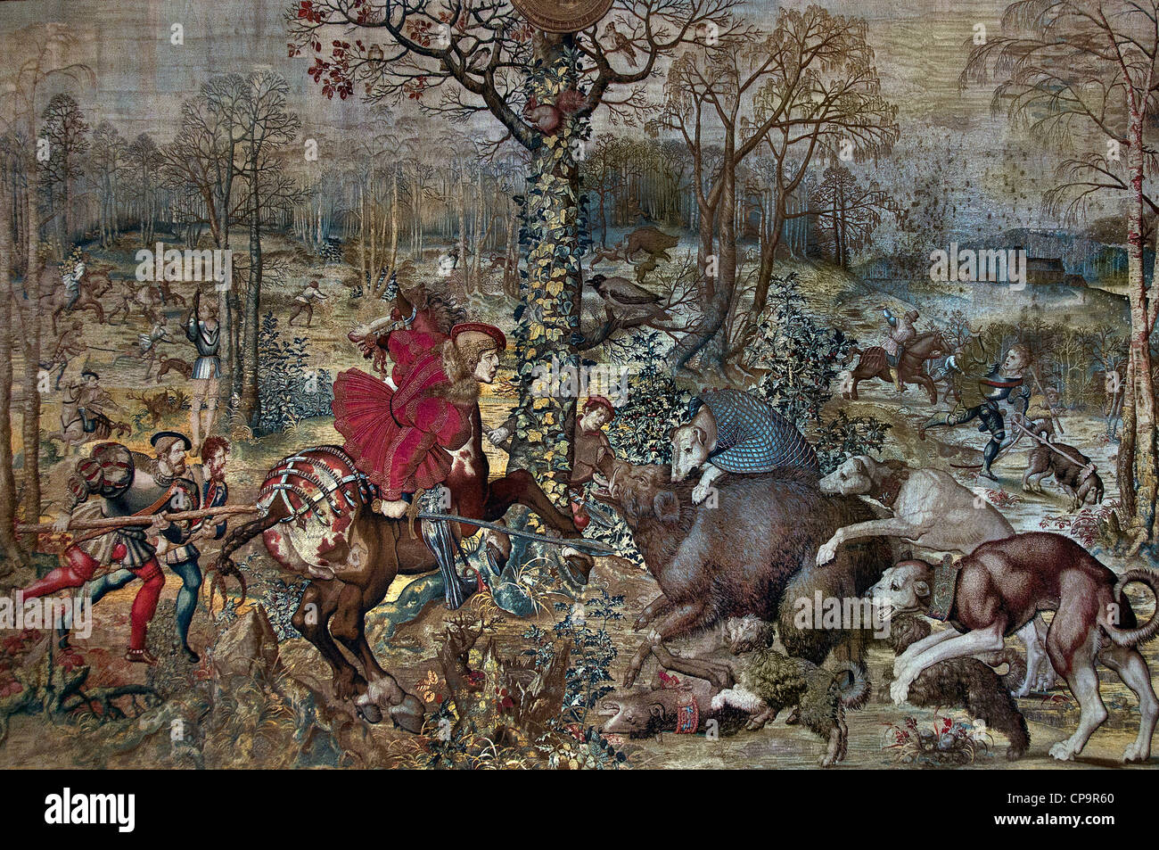 Bernard van ORLEY 1488 -1541 December tapestry The Hunts of Maximilian 1531 - 1533 Brussels Tapestry wool silk gold - Stock Image