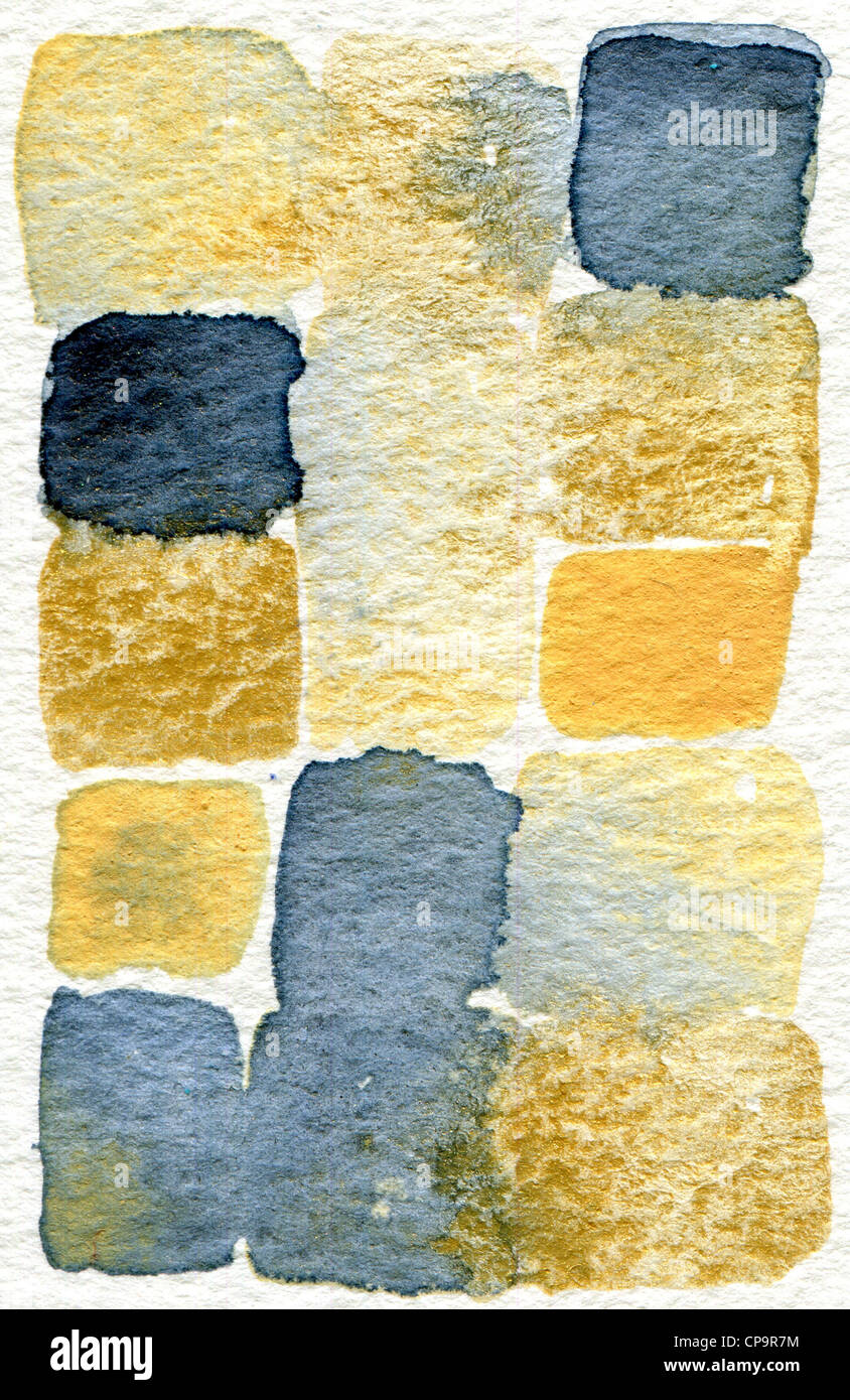 watercolor abstract painting in blue gold and cream suitable for