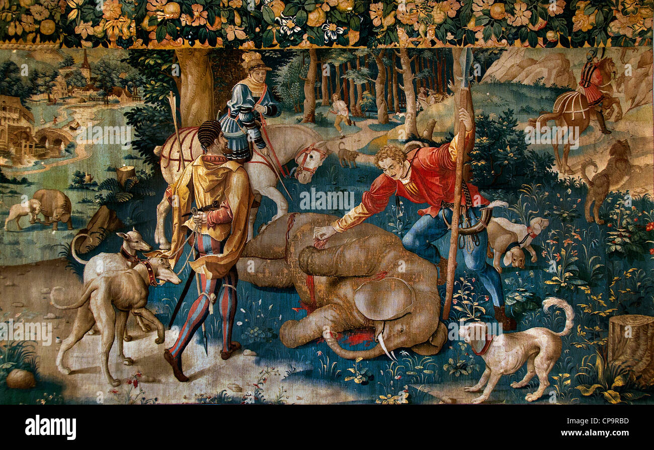 The hunting of elephants 1530 northern France or Flanders tapestry wool and silk - Stock Image