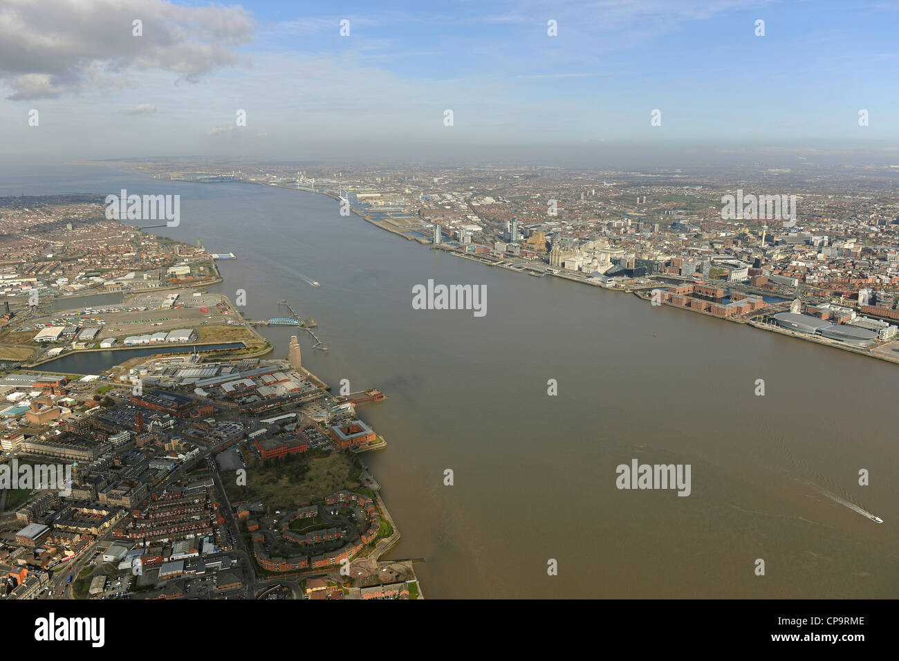 Wide angle aerial view of the River Mersey - Stock Image