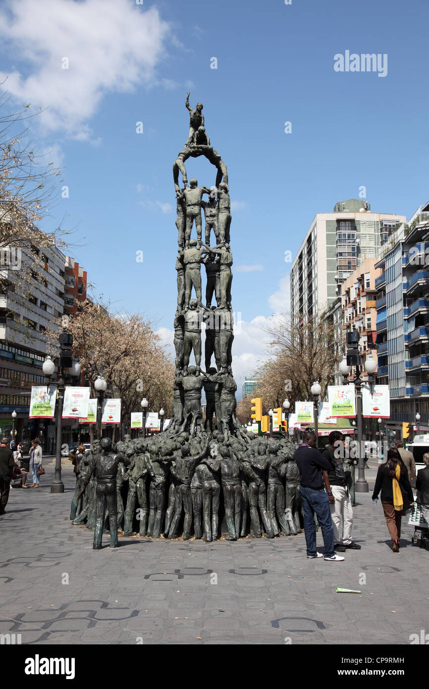 Castellers monument in the city of Tarragona, Catalonia Spain. - Stock Image