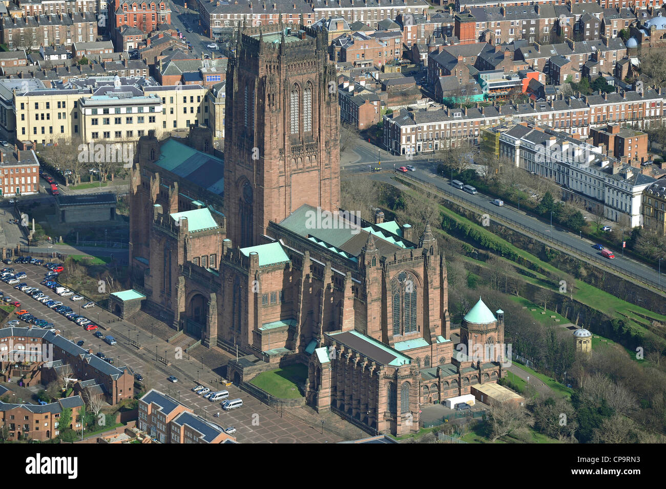 Aerial Photograph of Liverpool Cathedral - Stock Image