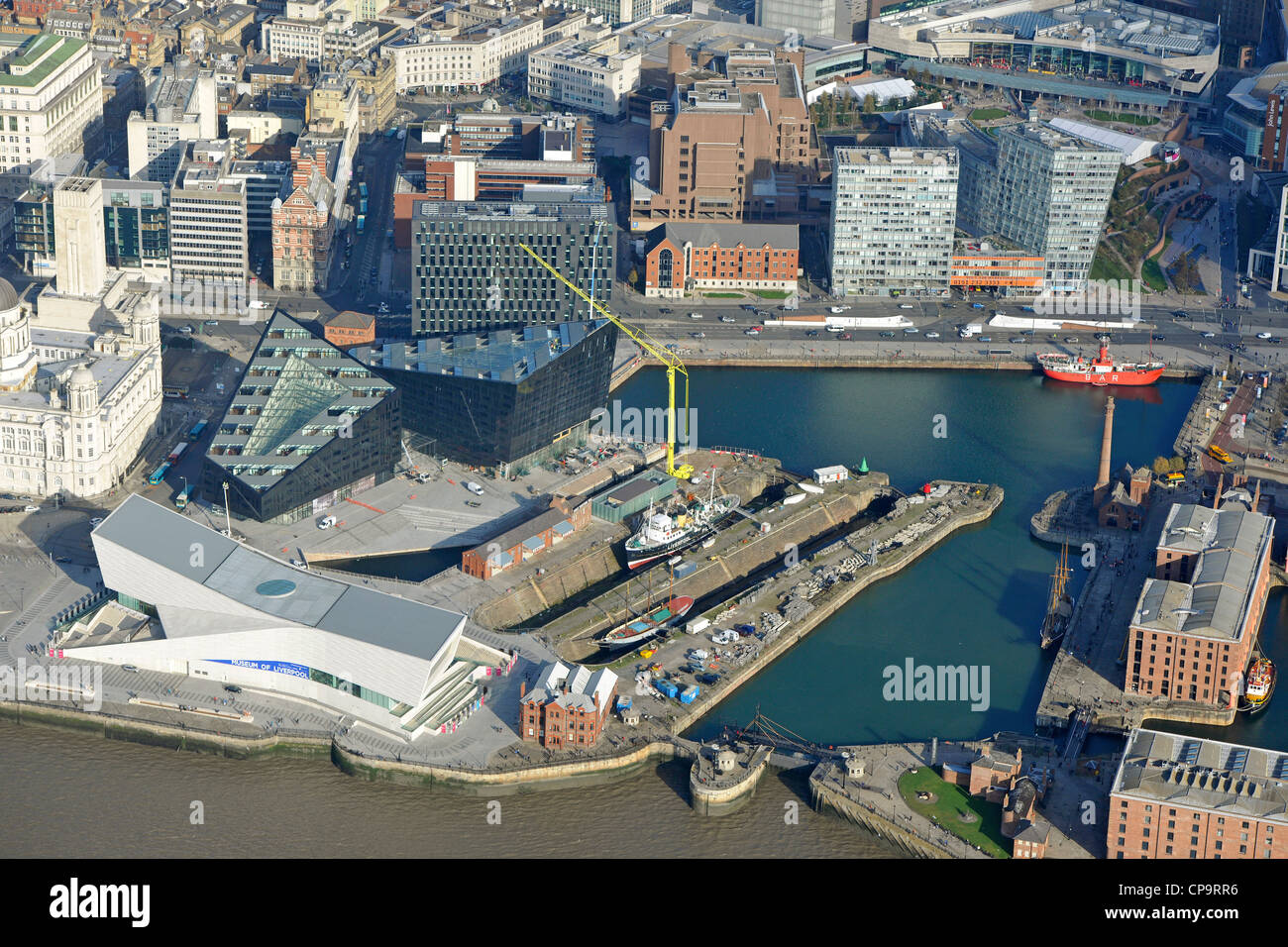Aerial view of Canning Dock and the Museum of Liverpool - Stock Image