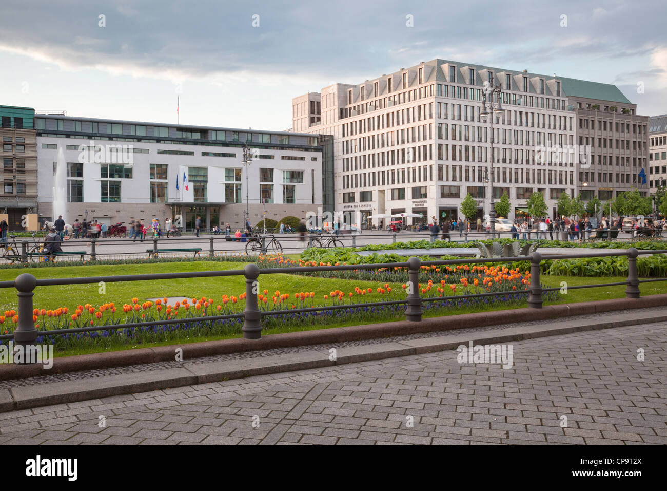 Pariser Platz with French Embassy and Museum the Kennedys, Berlin, Germany - Stock Image