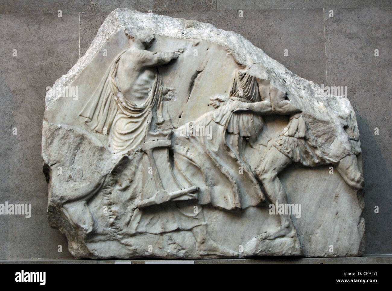 Greek Art. Greece. Parthenon (447-438 b.C). Fragment of the North frieze XII. - Stock Image