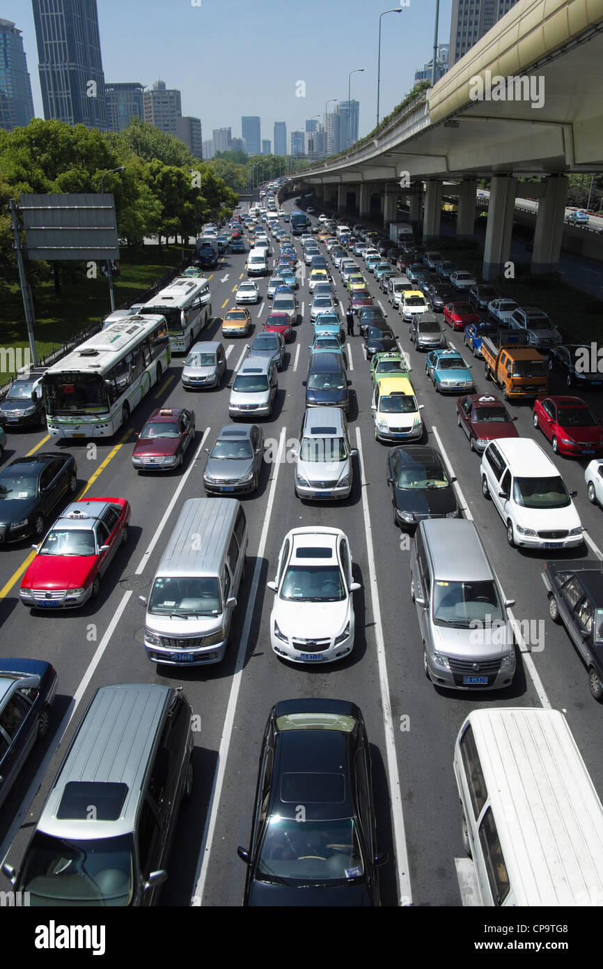 Traffic jam in central Shanghai China - Stock Image