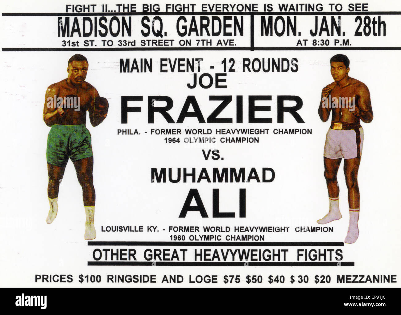 JOE FRAZIER v MUHAMMAD ALI  Poster for their fight at Madison Square Garden eventually held on 8 March 1971 - Stock Image