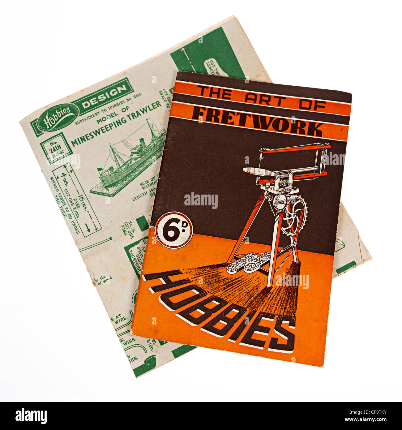 Fretwork hobbies book and plans, 1940s, UK - Stock Image