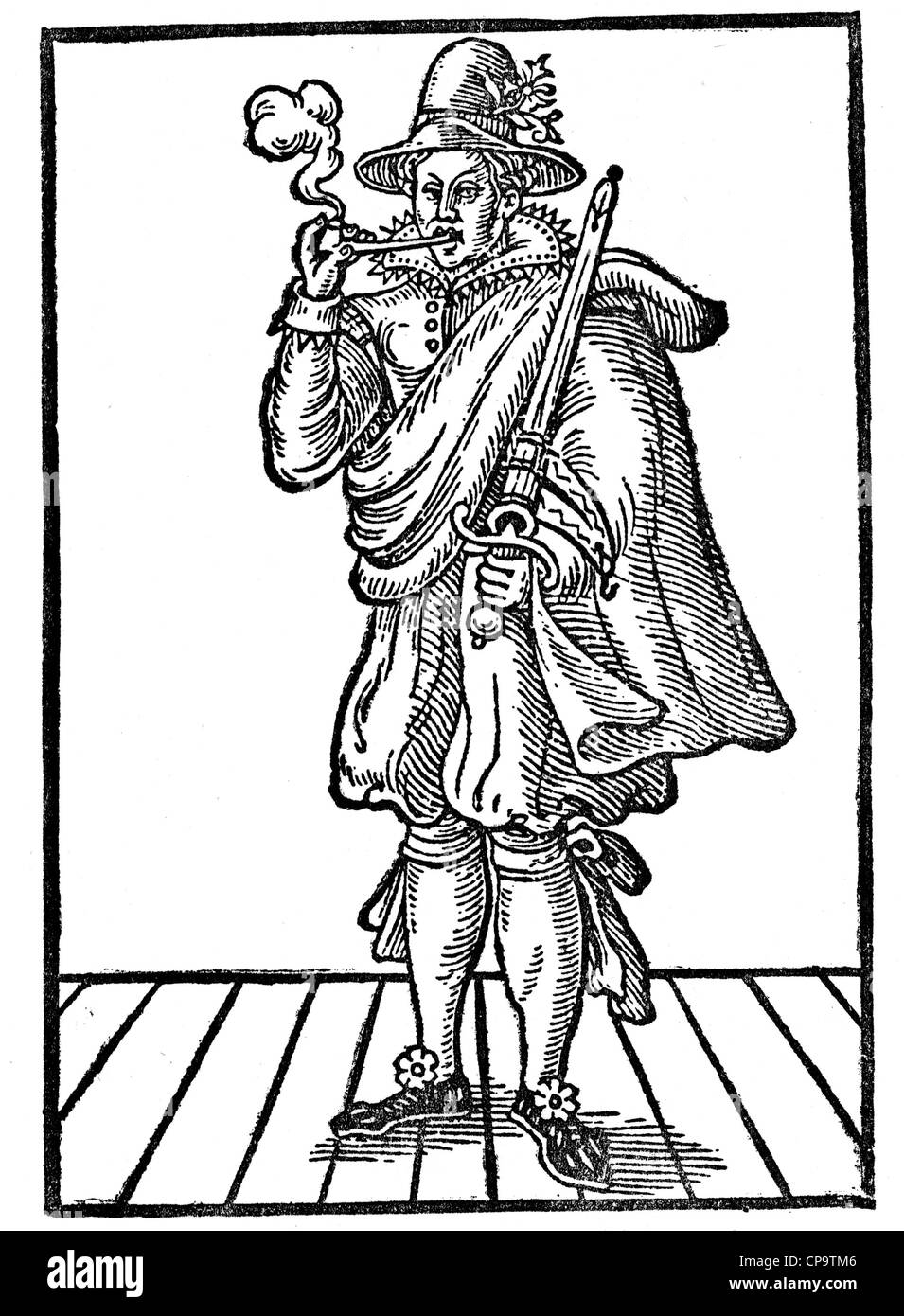 PIPE SMOKING in Elizabethan England - Stock Image