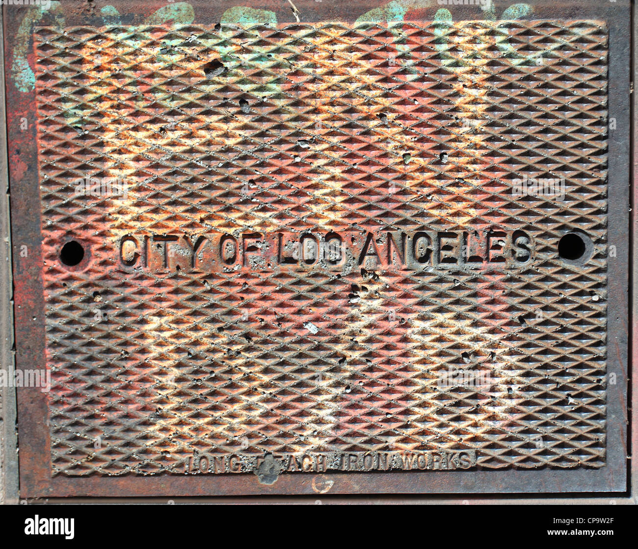 City of Los Angeles access cover, - Stock Image