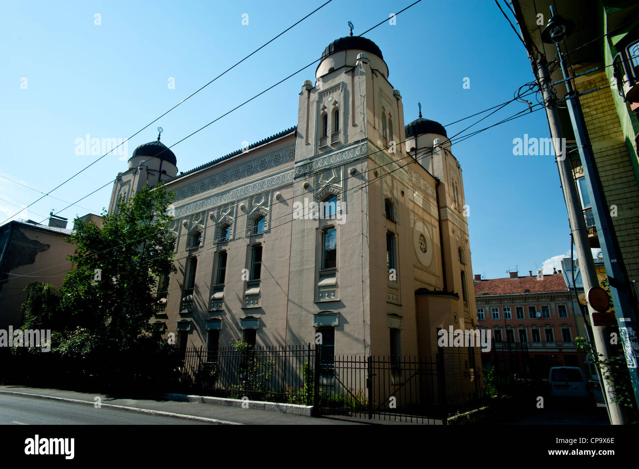 Sarajevo Synagogue ,built in Moorish Revival style in 1902, designed by Karel Parik .Bosnia- Herzegovina. Balkans - Stock Image